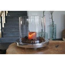 Round Aluminum Candles standard, with clear round shaped glass.